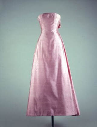 Jackie Kennedy´s pink silk Shantung strapless gown designed by Guy Dovier , for the state dinner honoring Andre Malraux, The French Minister of Culture, 11 May 1962, White House, Washington