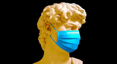 Should I wear mask or not: Mask is compulsory in more than 30 countries because of coronavirus, The sculpture David of Michangelo with mask