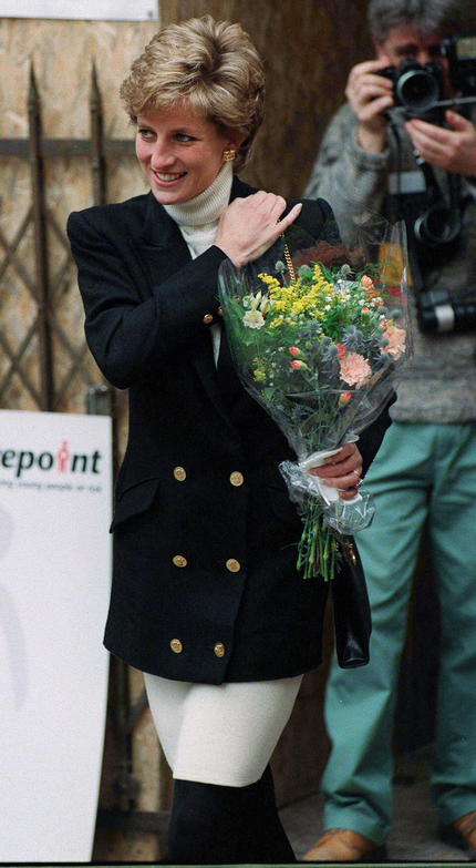 Princess Diana best looks in black blazer and white turtleneck sweater