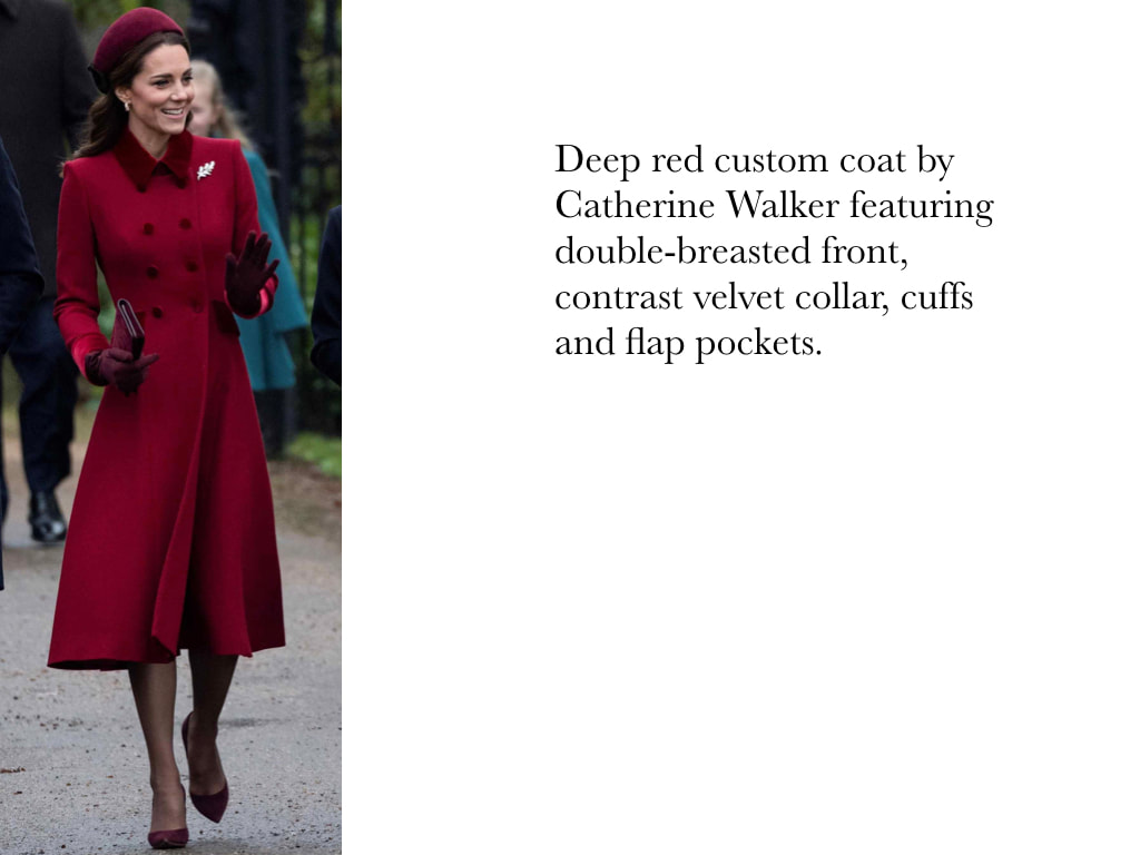 Kate Middleton Duchess of Cambridge in Deep red custom coat by Catherine Walker featuring double-breasted front, contrast velvet collar, cuffs and flap pockets.