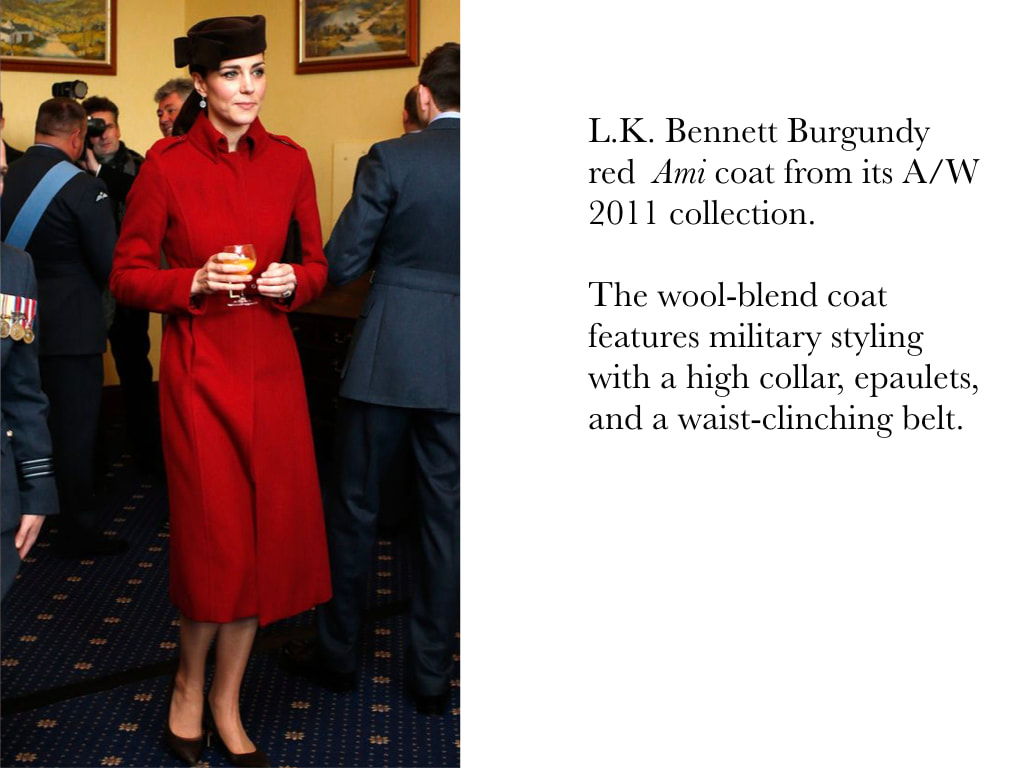 Kate Middleton Duchess of Cambridge in L.K. Bennett Burgundy red  Ami coat from its A/W 2011 collection.