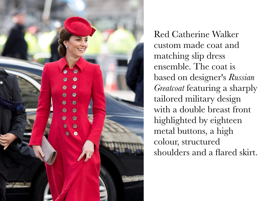 Kate Middleton Duchess of Cambridge in Red Catherine Walker custom made coat and matching slip dress ensemble. The coat is based on designer's Russian Greatcoat featuring a sharply tailored military design with a double breast front highlighted by eighteen metal buttons, a high colour, structured shoulders and a flared skirt.