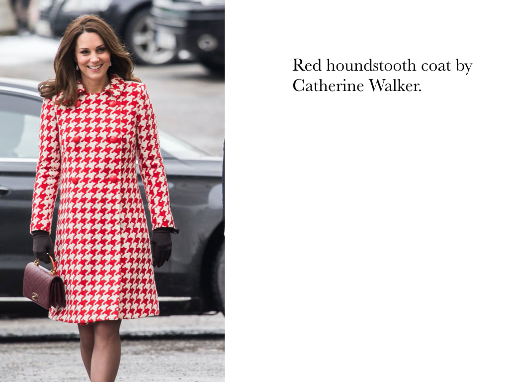 Kate Middleton Duchess of Cambridge in Red houndstooth coat by Catherine Walker.