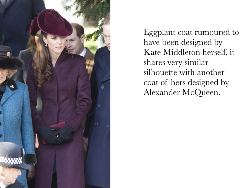 Kate Middleton Duchess of Cambridge in Eggplant coat rumoured to have been designed by Kate Middleton herself which shares very similar silhouette with another coat of hers designed by Alexander McQueen.