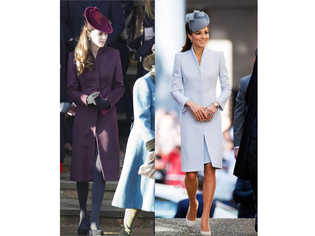 Kate Middleton Duchess of Cambridge in dove grey Alexander McQueen coat and a similar style eggplant coat rumoured to be designed by herself.