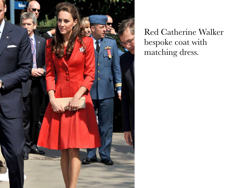 Kate Middleton Duchess of Cambridge in Red Catherine Walker bespoke coat with matching dress.