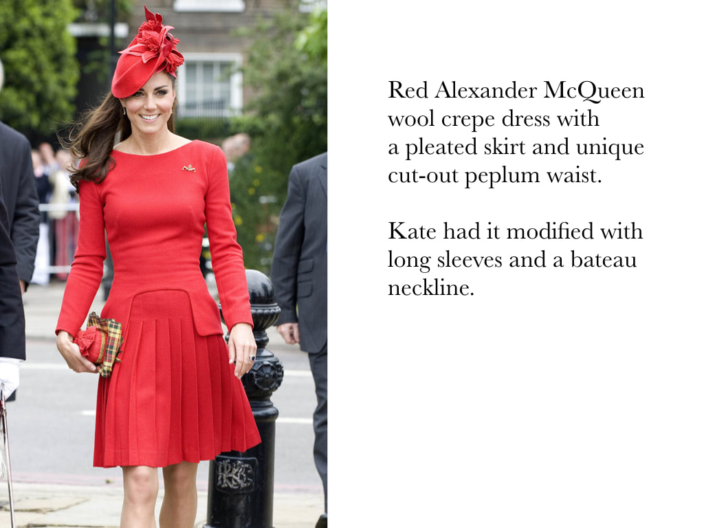 Kate Middleton Duchess of Cambridge in Red Alexander McQueen wool crepe dress with a pleated skirt and unique cut-out peplum waist.