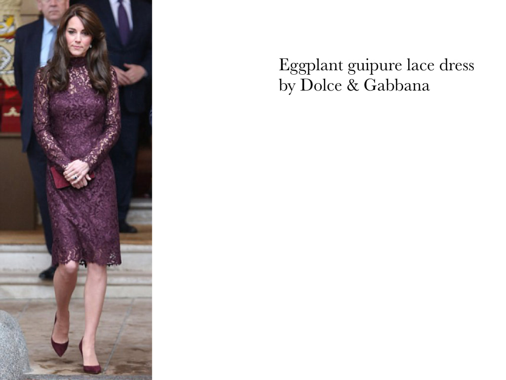 Kate Middleton Duchess of Cambridge in Eggplant guipure lace dress by Dolce & Gabbana.
