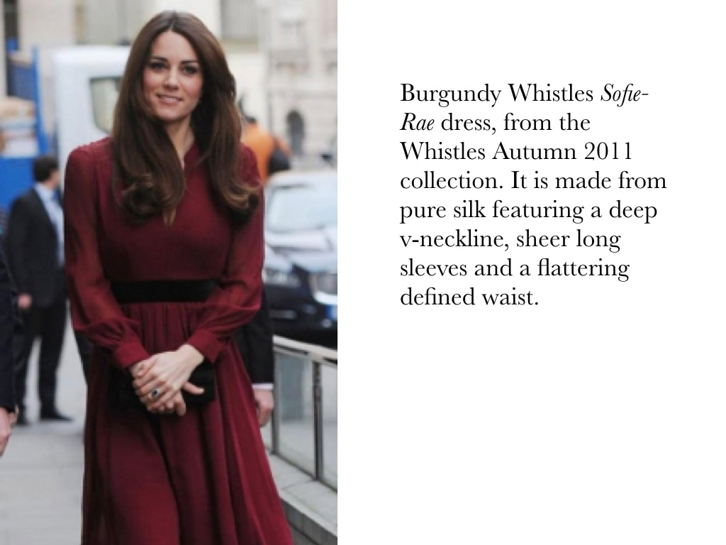 Kate Middleton Duchess of Cambridge in Burgundy Whistles Sofie-Rae dress, from the Whistles Autumn 2011 collection. It is made from pure silk featuring a deep v-neckline, sheer long sleeves and a flattering defined waist.