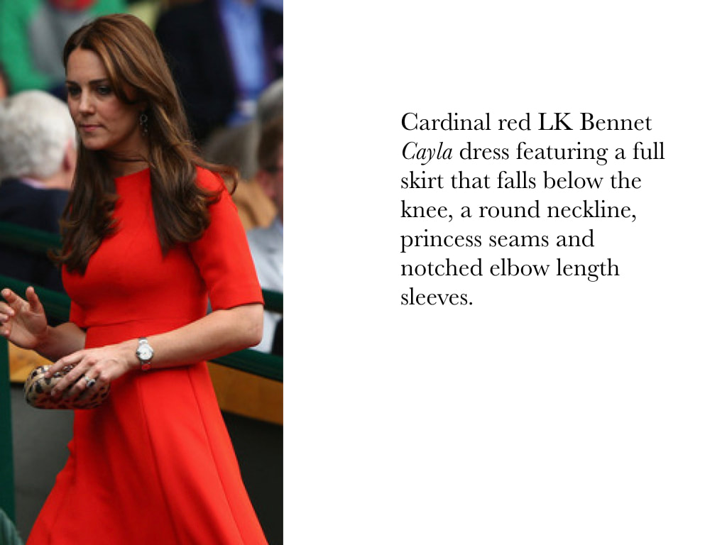 Kate Middleton Duchess of Cambridge in red LK Bennet Cayla dress featuring a full skirt that falls below the knee, a round neckline, princess seams and notched elbow length sleeves.