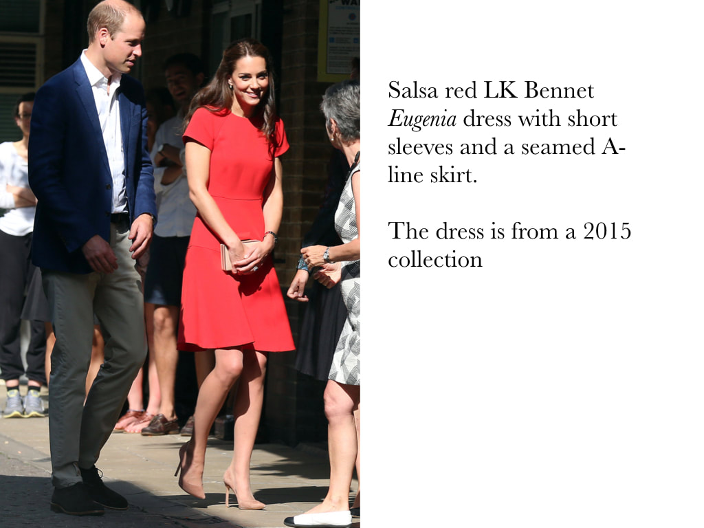 Kate Middleton Duchess of Cambridge in red LK Bennet Eugenia dress with short sleeves and a seamed A-line skirt.