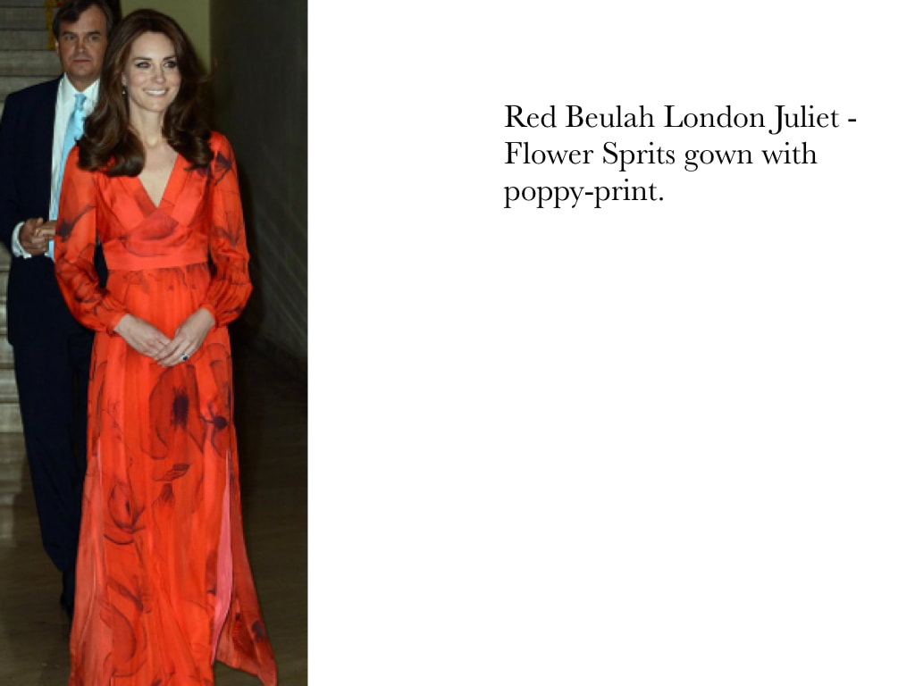 Kate Middleton Duchess of Cambridge in Red Beulah London Juliet - Flower Sprits gown with poppy-print.