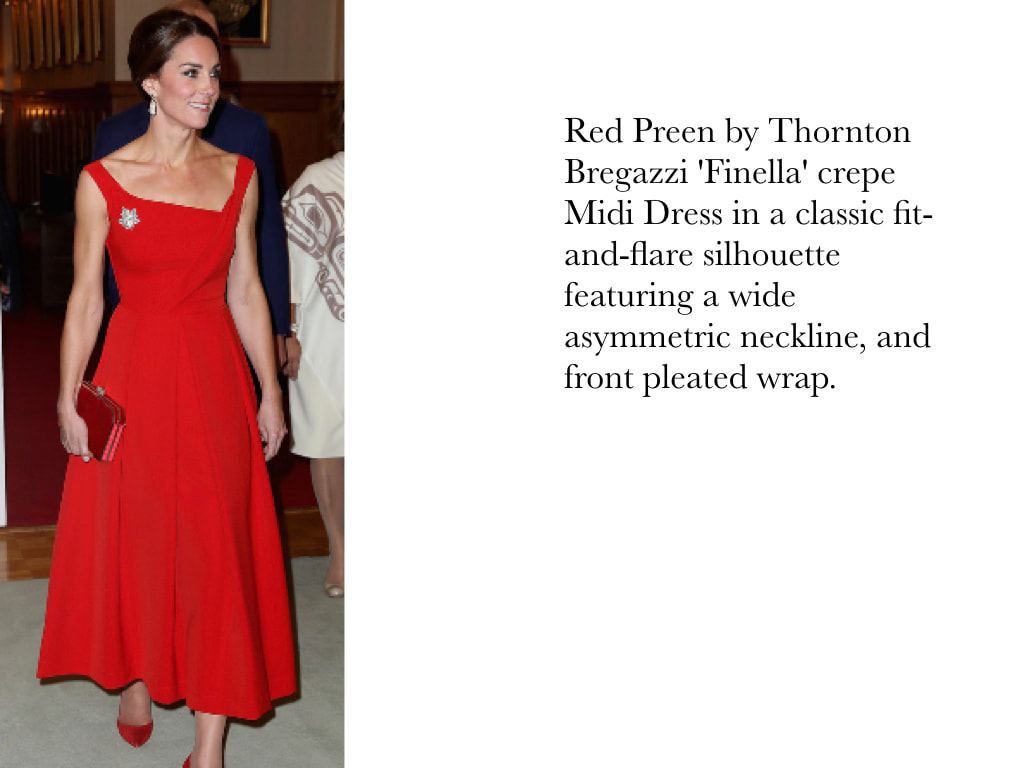 Kate Middleton Duchess of Cambridge in Red Preen by Thornton Bregazzi 'Finella' crepe Midi Dress in a classic fit-and-flare silhouette featuring a wide asymmetric neckline, and front pleated wrap.