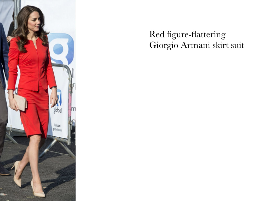 Kate Middleton Duchess of Cambridge in red figure-flattering Giorgio Armani skirt suit