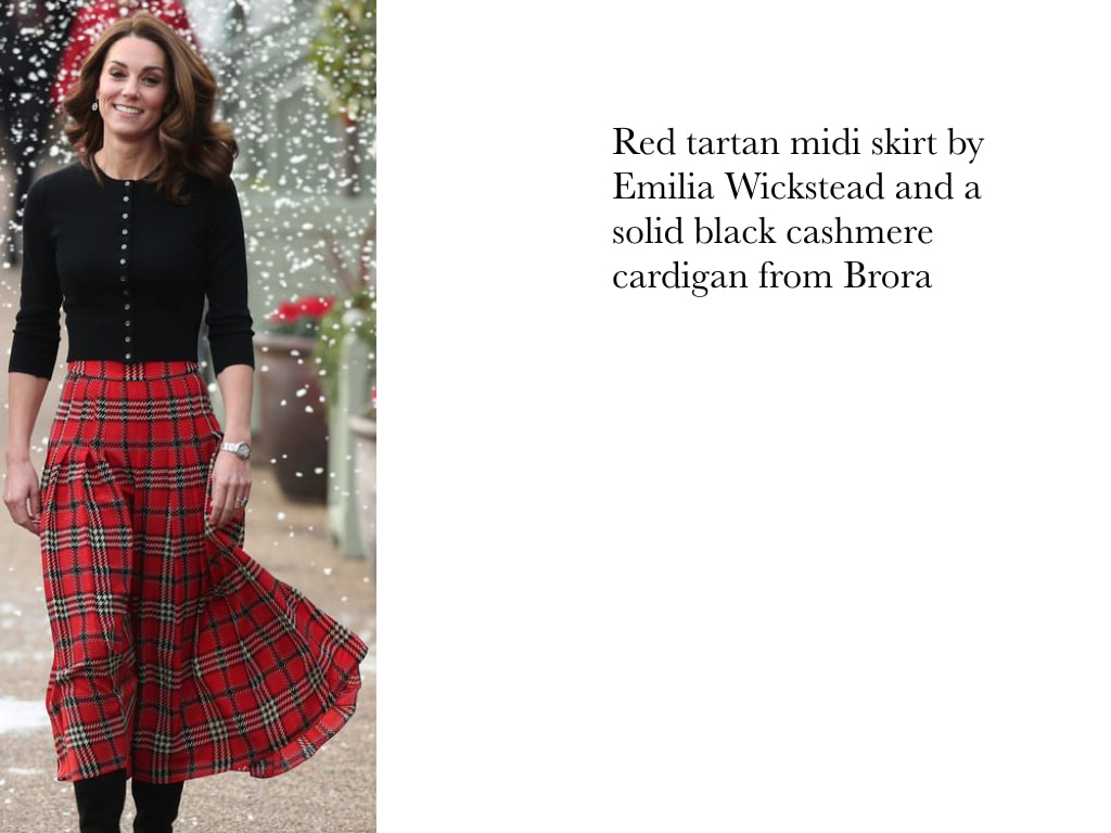 Kate Middleton in red tartan midi skirt by Emilia Wickstead and a solid black cashmere cardigan from Brora